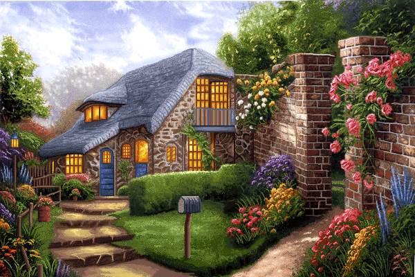 خانه سنگی در طبیعت پر ابریشم