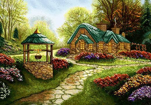 منظره خانه در طبیعت پر ابریشم