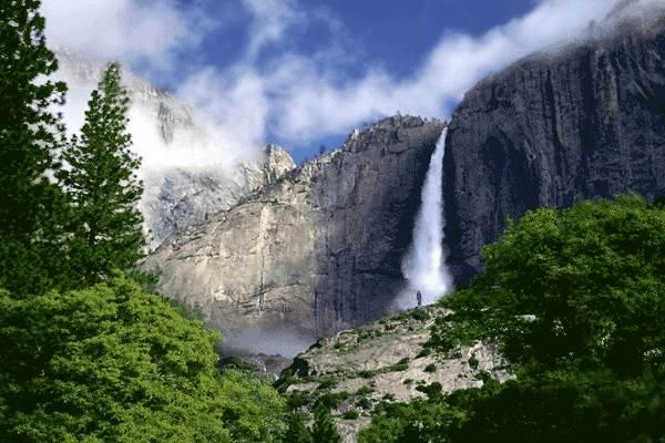 عکس آبشار بلند پر ابریشم