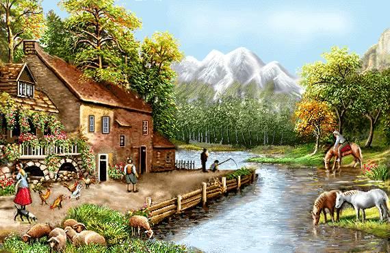طبیعت روستا کنار رود پر ابریشم
