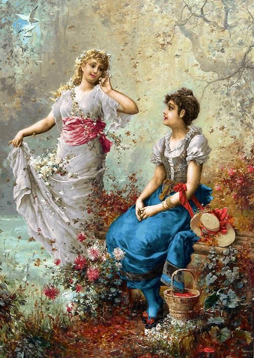 دخترها در باغ گل