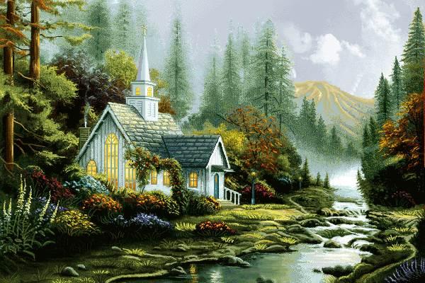 منظره کلبه و رود زیبا پر ابریشم