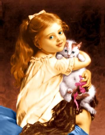 دختربچه با گربه در آغوش