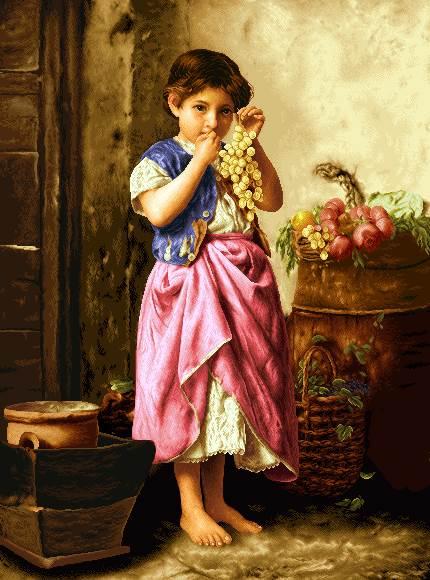 دختر در حال خوردن انگور