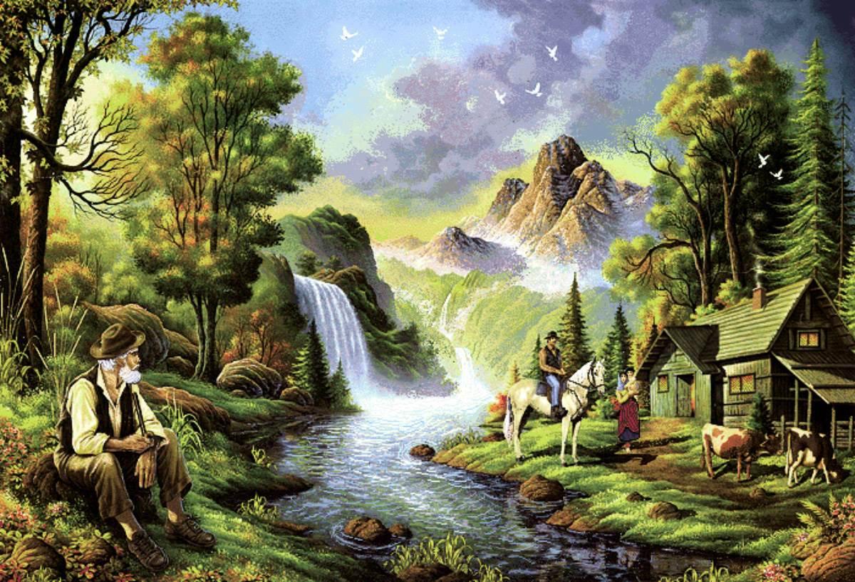 منظره آبشار کوهستانی