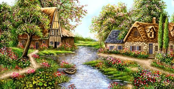 منظره زیبا بهاری رودخانه