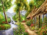 نقاشی کلبه کنار رودخانه