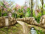 دیوار گلی در طبیعت بهار
