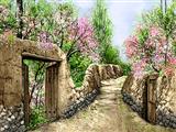 کوچه روستایی در فصل بهار