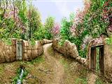 کوچه خاکی روستا در بهار