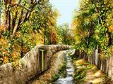 نهر آب کوچه درختان پاییزی