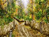 نقاشی درختان پاییزی روستا