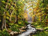 نهر در جنگل زیبا