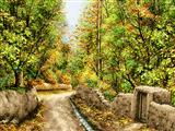 کوچه و درختان پاییزی