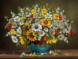 گلدان گلها روی تاقچه