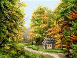 کلبه در جنگل پاییزی