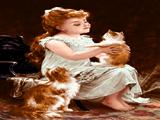 دختربچه و گربه