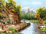 طبیعت روستا کنار رود