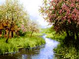 نقاشی طبیعت رودخانه بهار