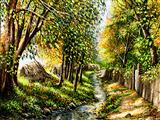 منظره درختان روستایی