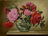 گلدان شیشه ای گل