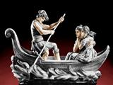 دو مرد و یک زن در قایق