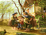 مادر و فرزندان روستایی