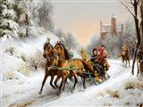 سورتمه در جاده زمستان