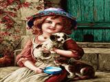 دختربچه با توله سگ