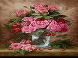 گلدان گل های صورتی