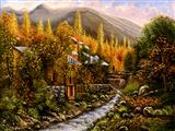 کلبه و رود پاییزی