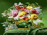 گلدان گل با زمینه سبز