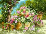 نقاشی گلدان در طبیعت