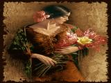 دختر زیبا با شاخه گل