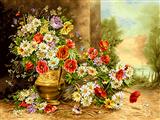 نقاشی گل و گلدان