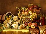 گل و میوه روی تاقچه