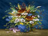 گلدان گل با زمینه آبی