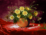 گلدان گل با زمینه قرمز