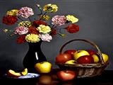 سبد میوه سیب و گلدان