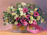 گلدان گل با روبان صورتی