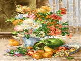 نقاشی میوه و گلدان