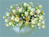 نقاشی گلدان لاله سفید