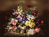 گلدان گل با زمینه قهوه ای