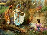 دختران در طبیعت بهاری