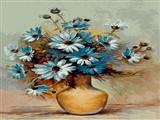 گلدان گلهای آبی