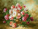گلدان گلهای رز سفید قرمز
