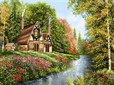 خانه جنگل بهاری و رود